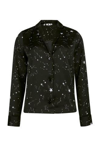slim fit blouse met print zwart