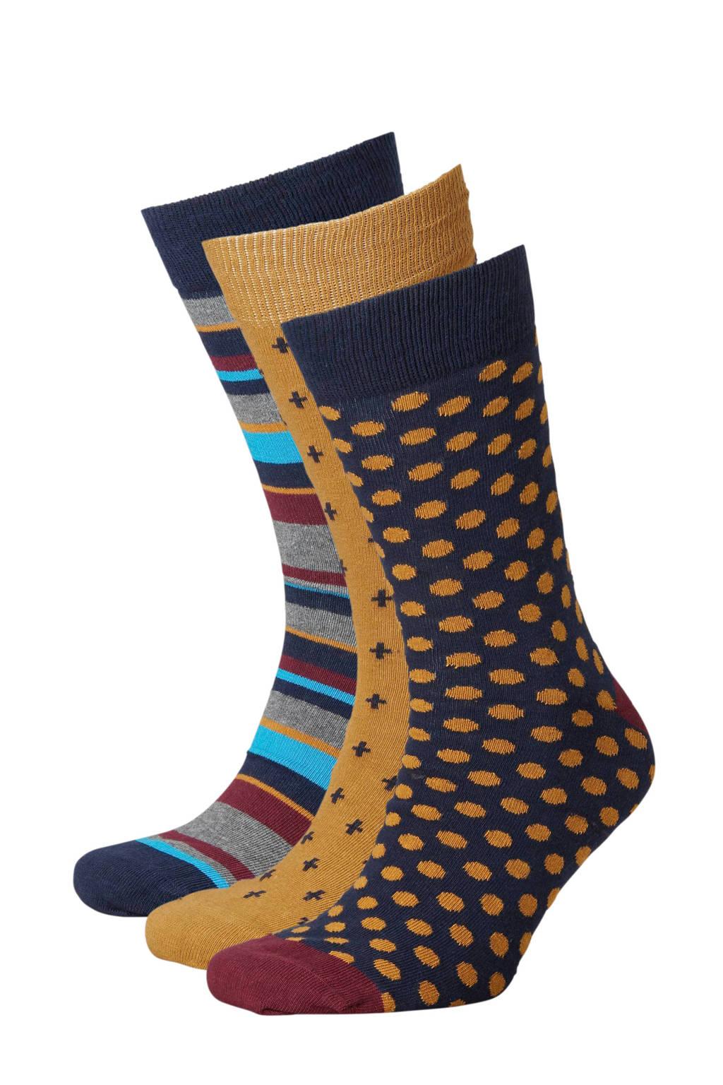 Apollo sokken ( 3 paar) oker, Oker multi