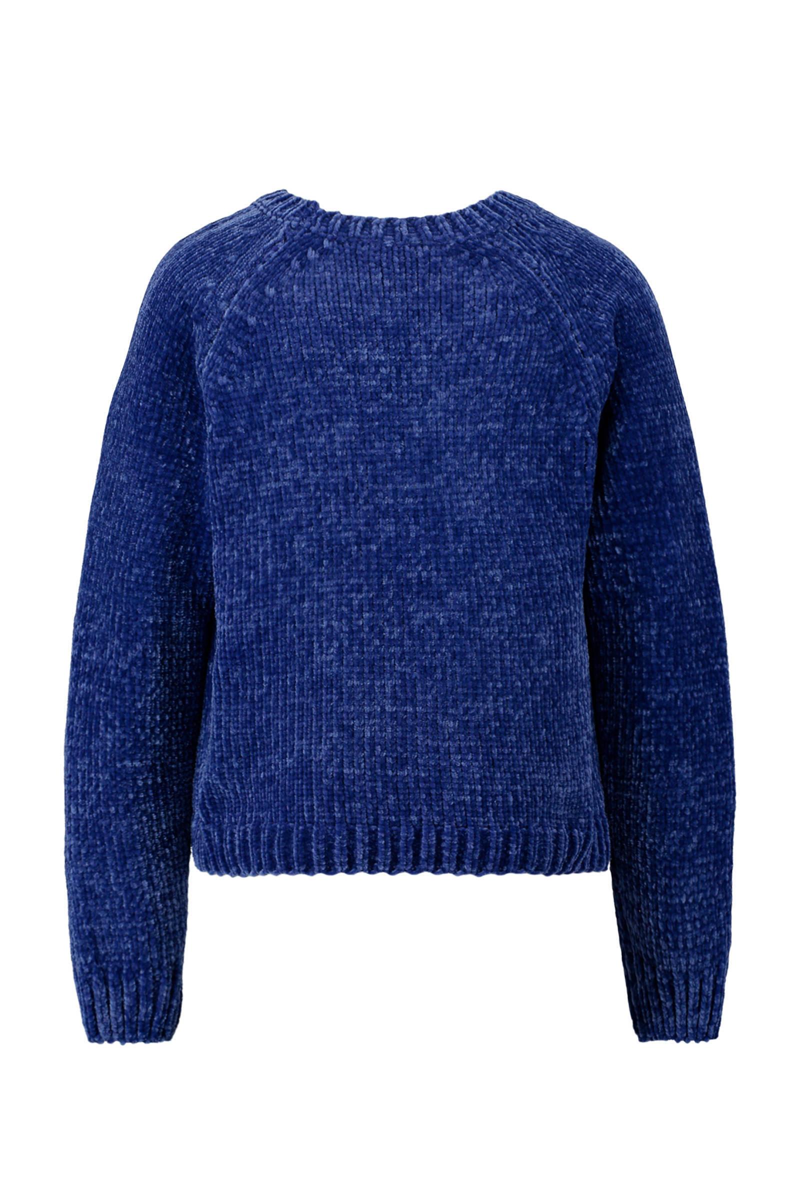 CoolCat chenille trui donkerblauw | wehkamp