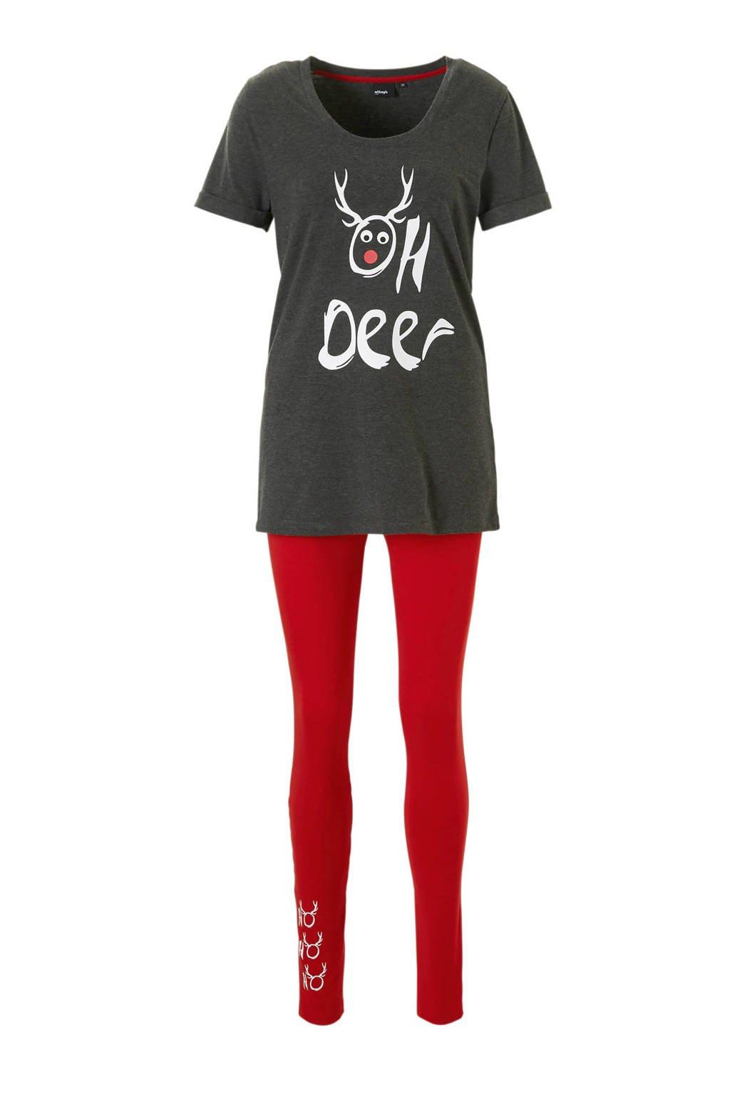 whkmp's own pyjama met rendierprint, Donkergrijs/rood