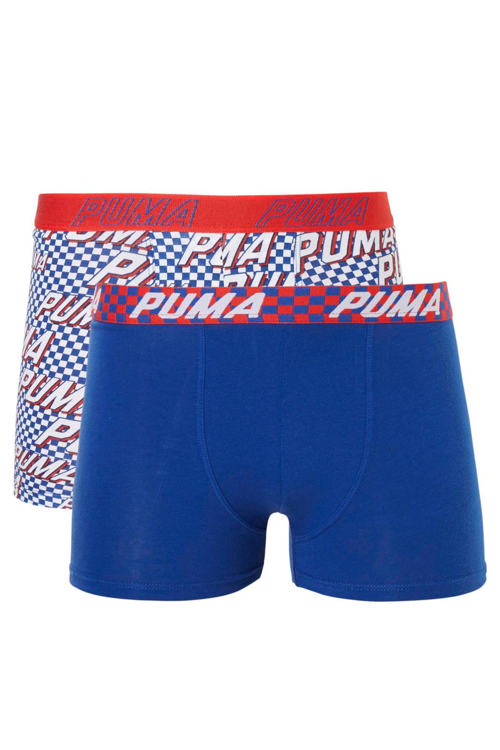 Puma Bodywear Junior  boxershort - set van 2 blauw/wit, Blauw/wit/rood