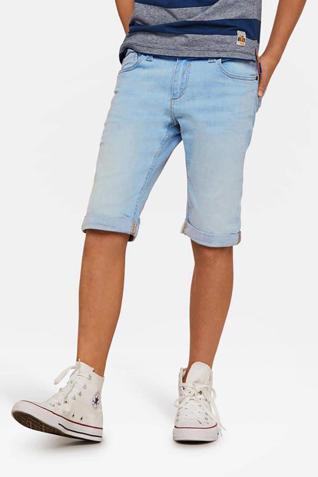 WE Fashion Blue Ridge slim fit jeans bermuda light jog denim, Lichtblauw