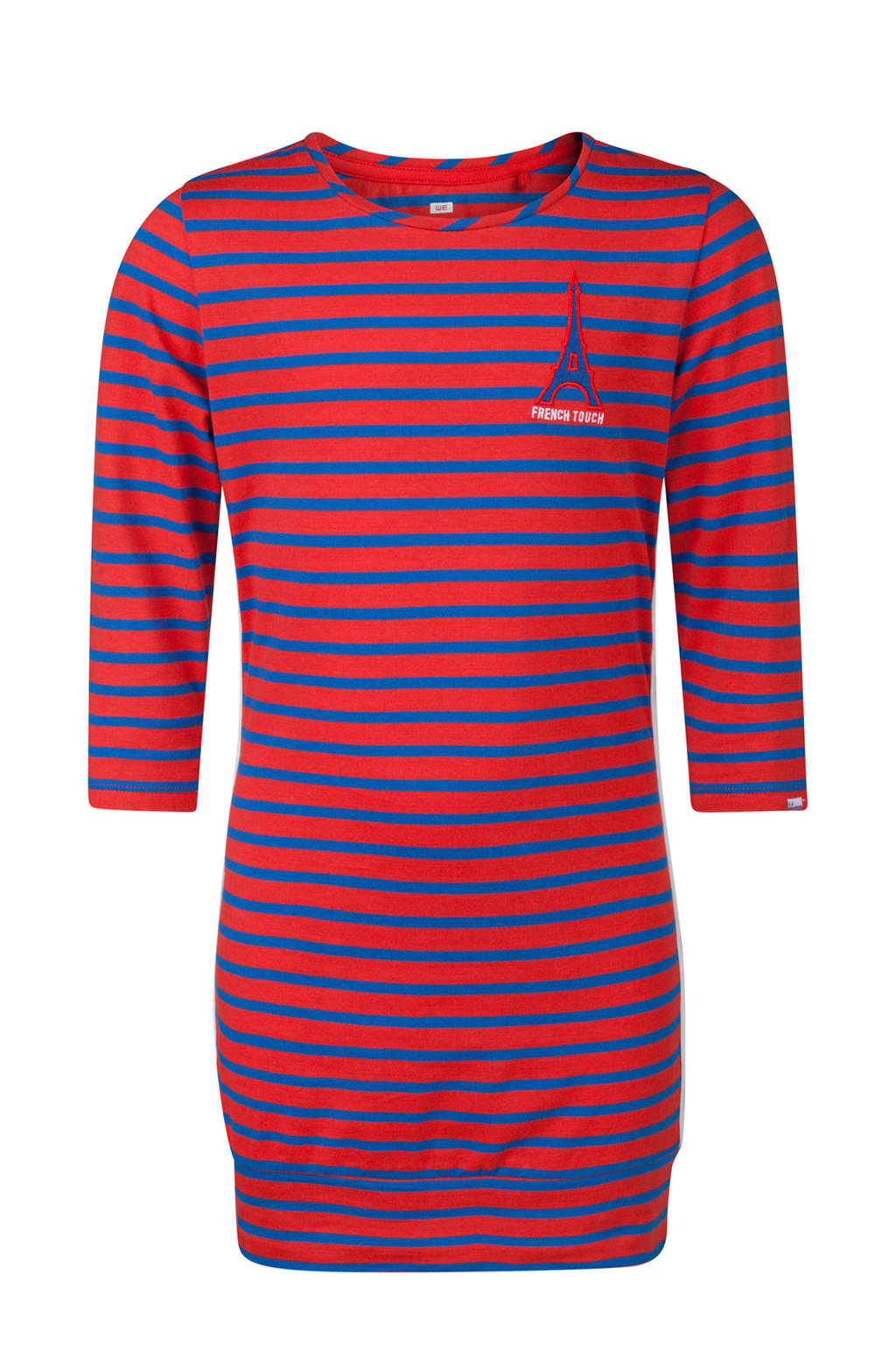 WE Fashion lang gestreept T-shirt rood, Rood/blauw