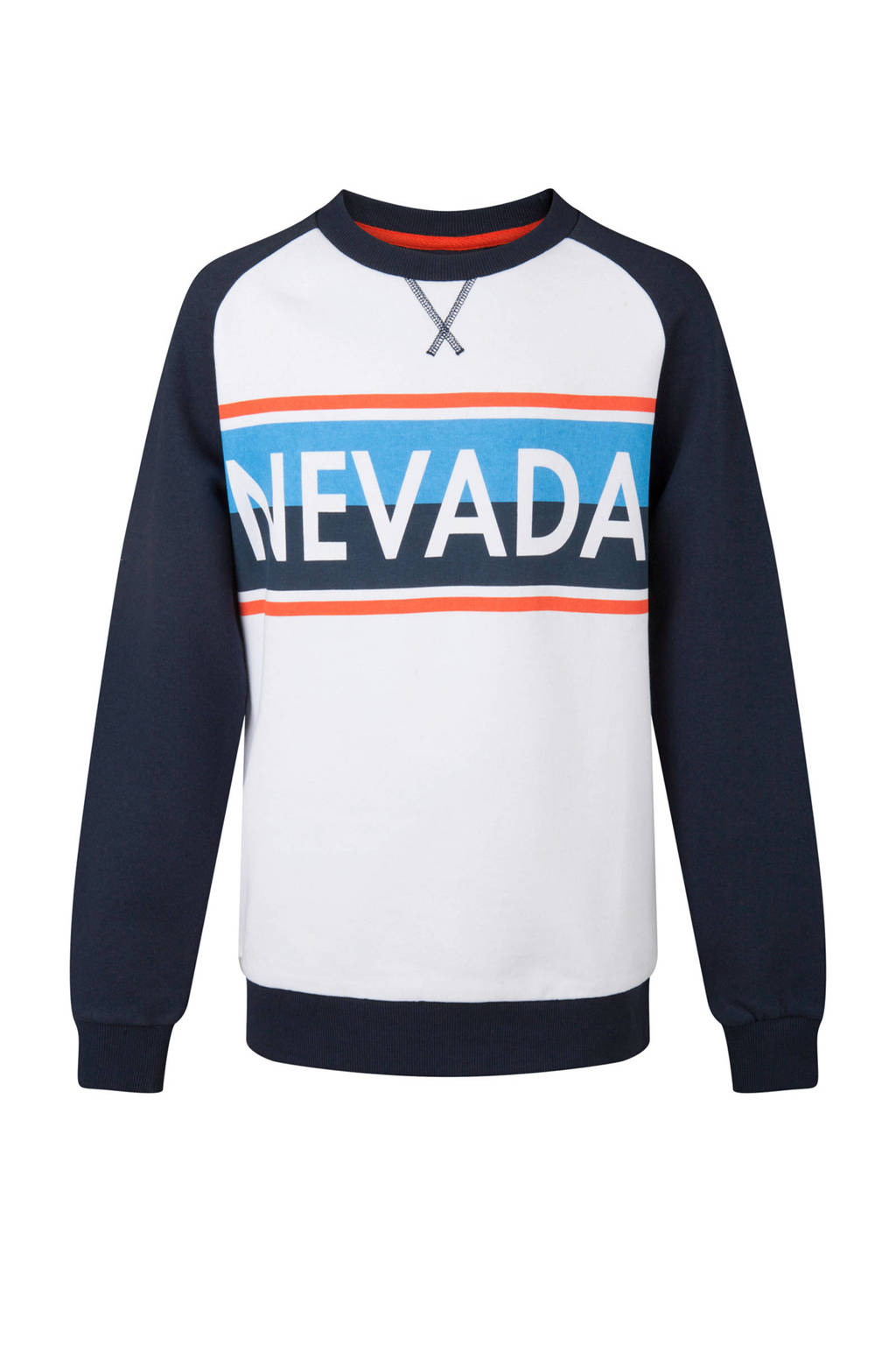 WE Fashion sweater met tekst blauw, Wit/blauw