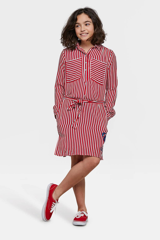 WE Fashion jurk met strepen, Bright Cherry