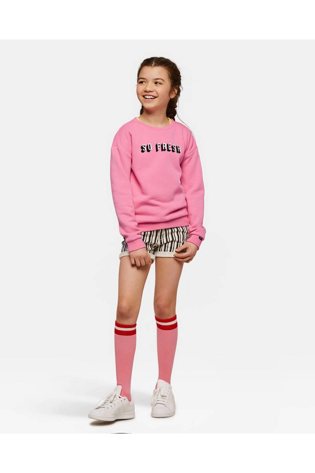 WE Fashion sweater met tekst roze, Roze