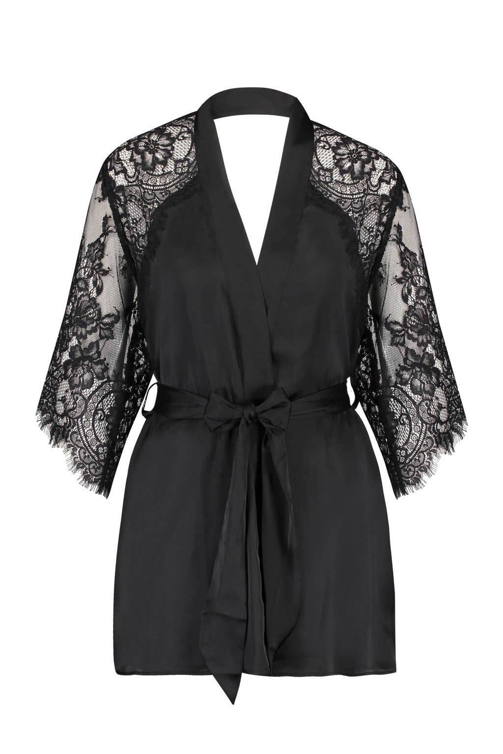 Hunkemöller Private kimono met uitlopende mouwen zwart, Zwart