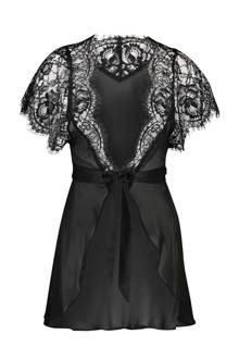 Private chiffon kimono met kant zwart