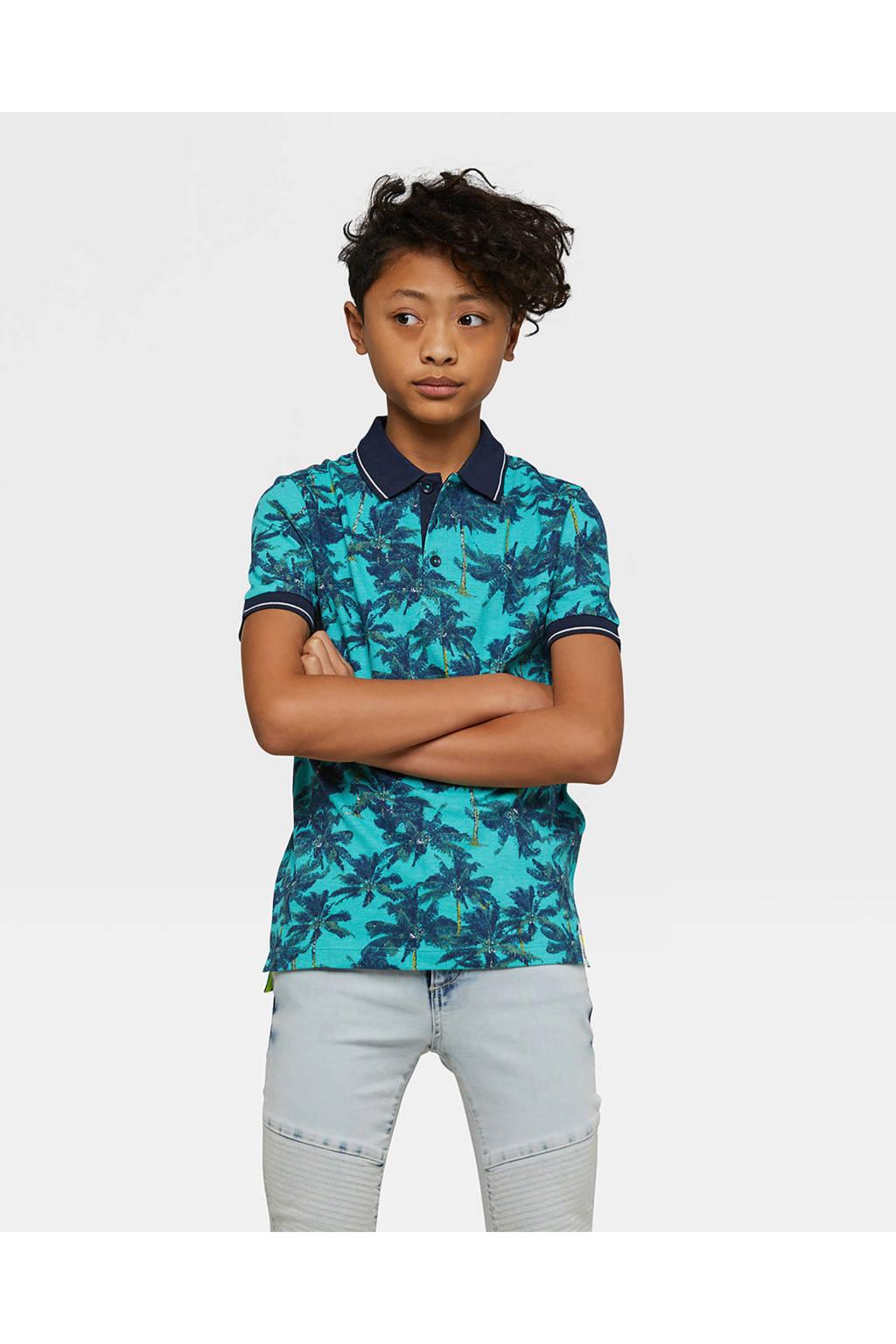 WE Fashion polo met palmbomen blauw, Turquoise/blauw