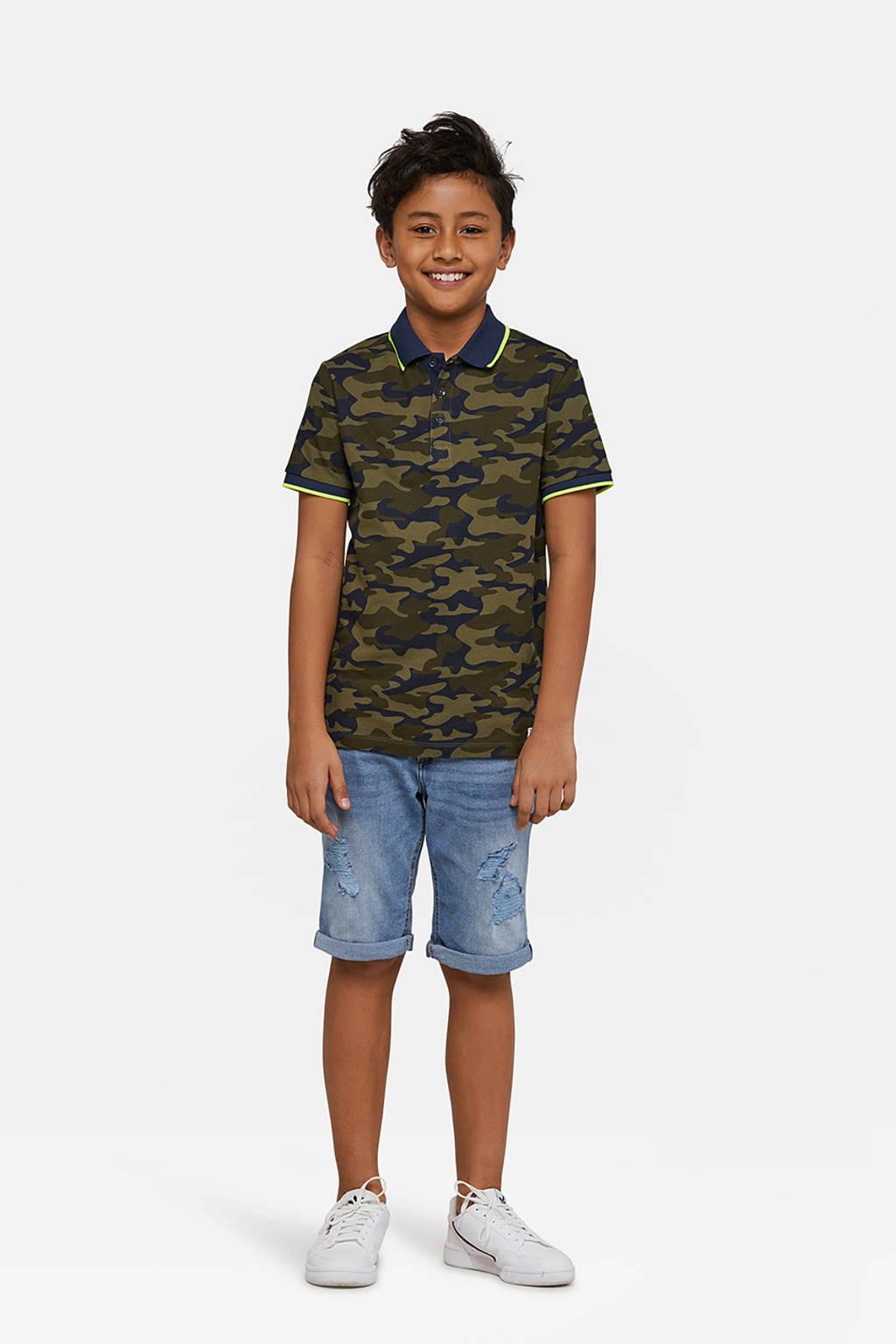 WE Fashion polo met camouflageprint donker legergroen, Donker legergroen