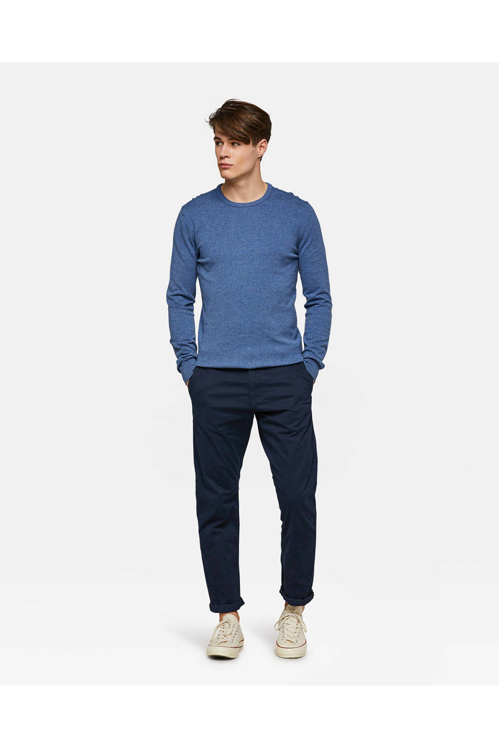 WE Fashion Blue Ridge regular fit chino, Donkerblauw