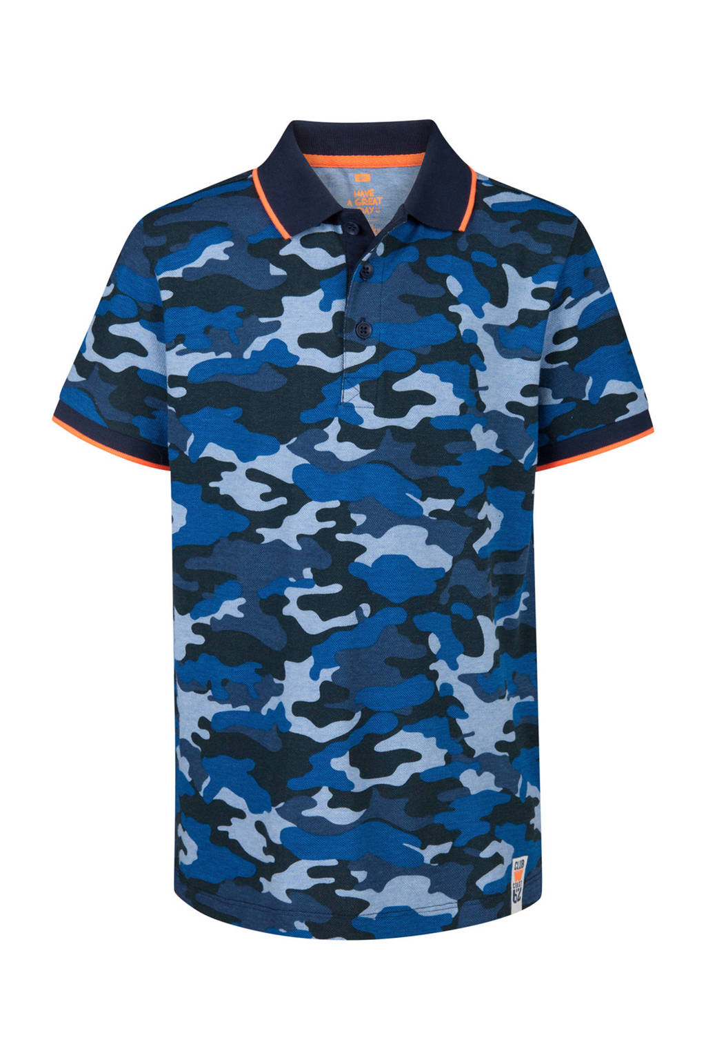 WE Fashion polo met camouflageprint blauw, Blauw