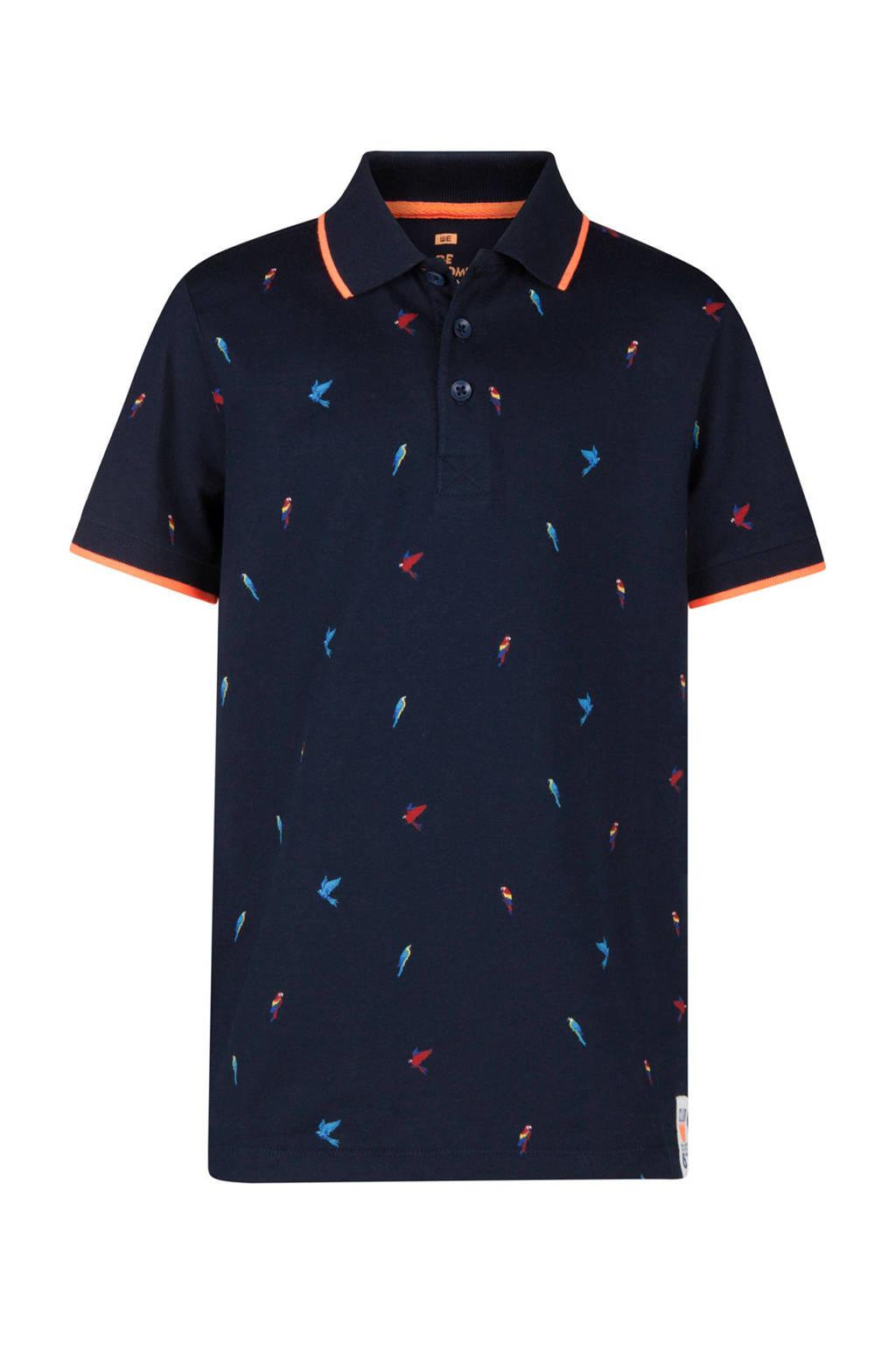 WE Fashion polo met vogels blauw, Donkerblauw