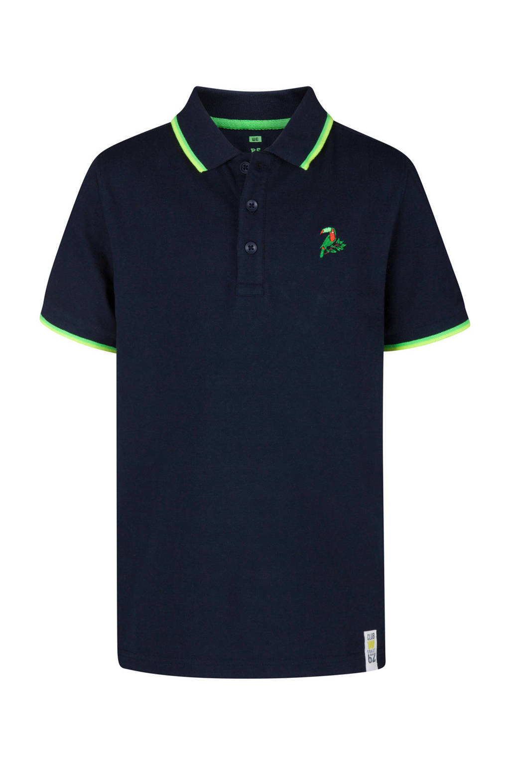 WE Fashion polo met vogel blauw, Donkerblauw/lime