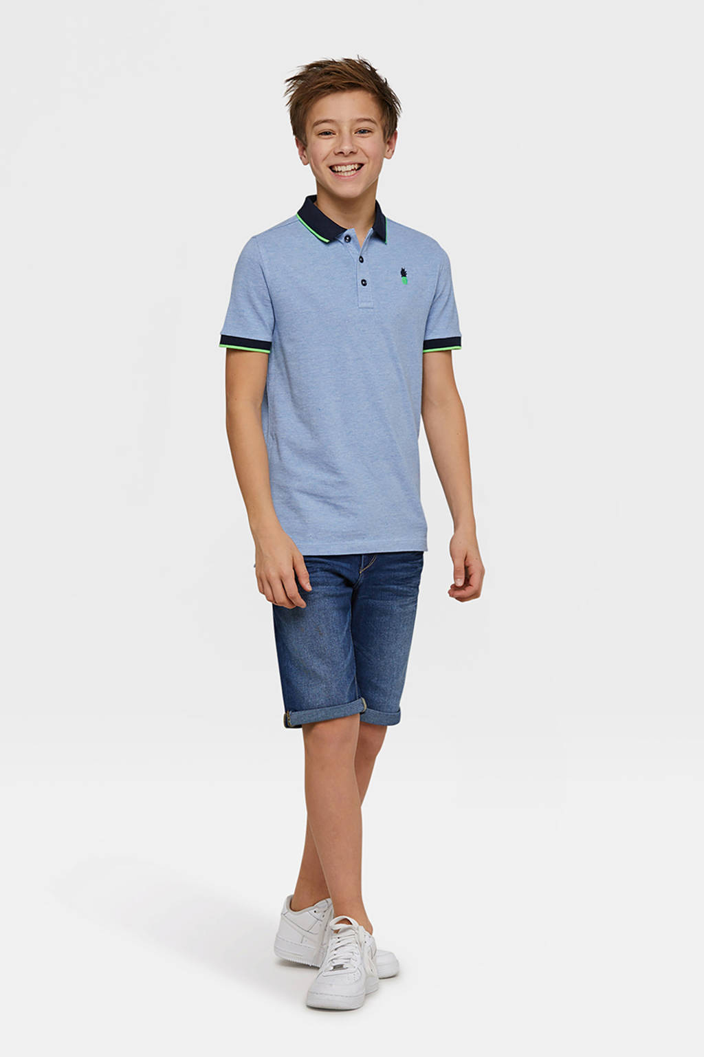 WE Fashion polo met vogel blauw, Faded Pacific