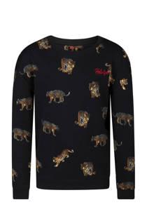 WE Fashion sweater met tijgers zwart (meisjes)