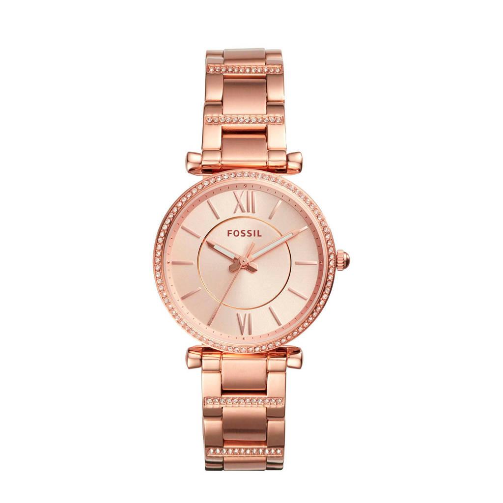 Fossil Carlie Dames Horloge ES4301, Rose