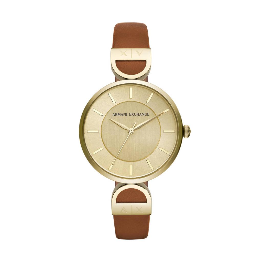 Armani Exchange horloge Brooke AX5324, Bruin/goud