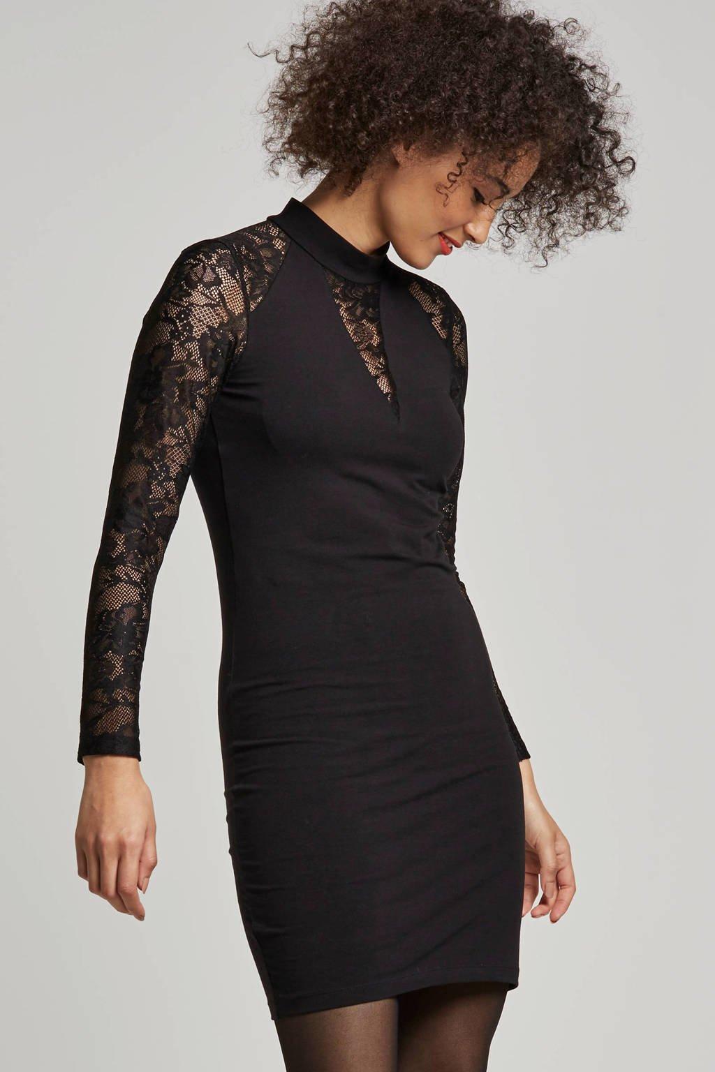 ONLY jurk met kanten details, Zwart