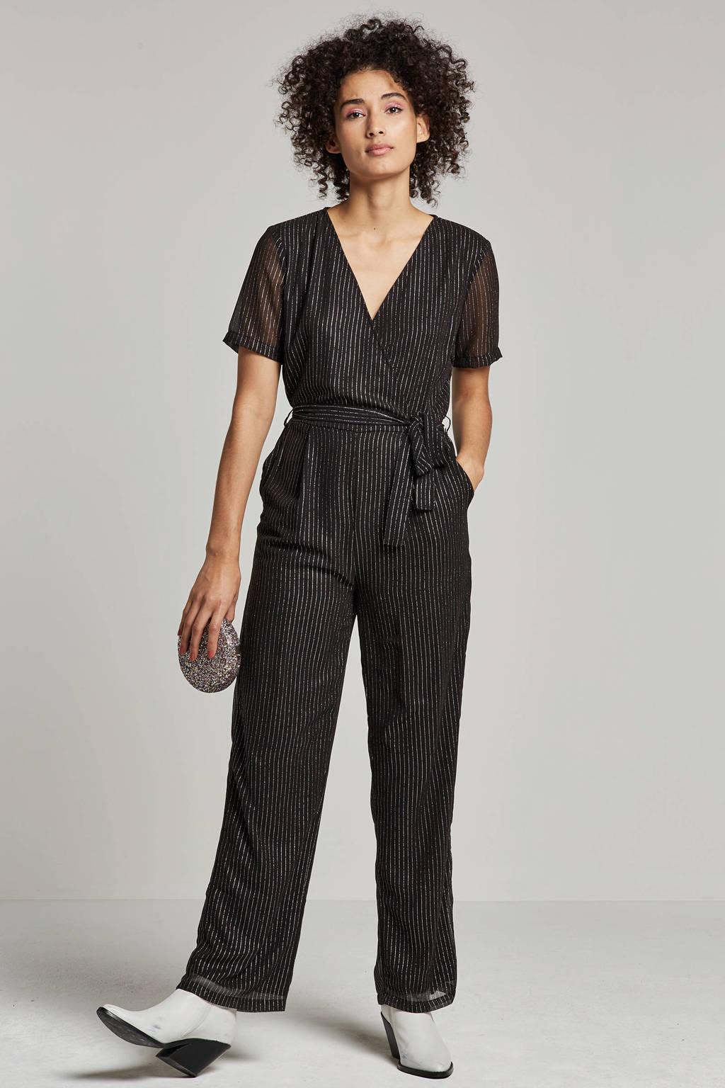 Pieces gestreepte jumpsuit met glitter detail, Zwart/zilver
