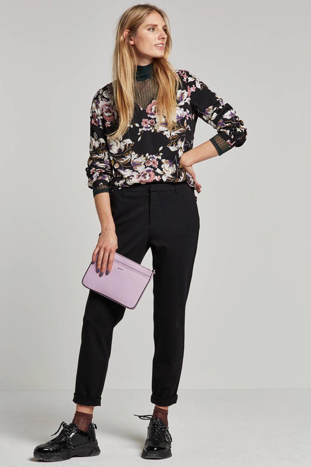 VILA gebloemde top, Zwart/wit/roze/paars