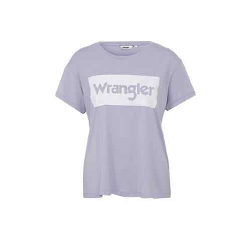 Wrangler T-shirt met logo opdruk lila