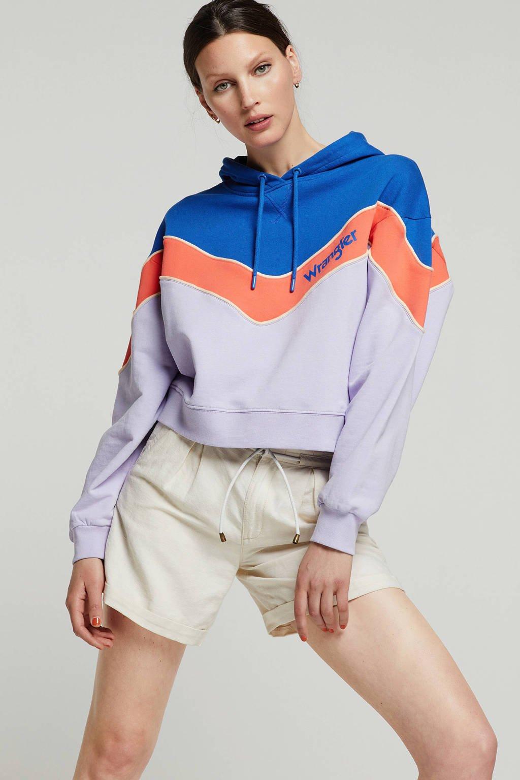 Wrangler colour block hoodie, Lila/donkerblauw/roze