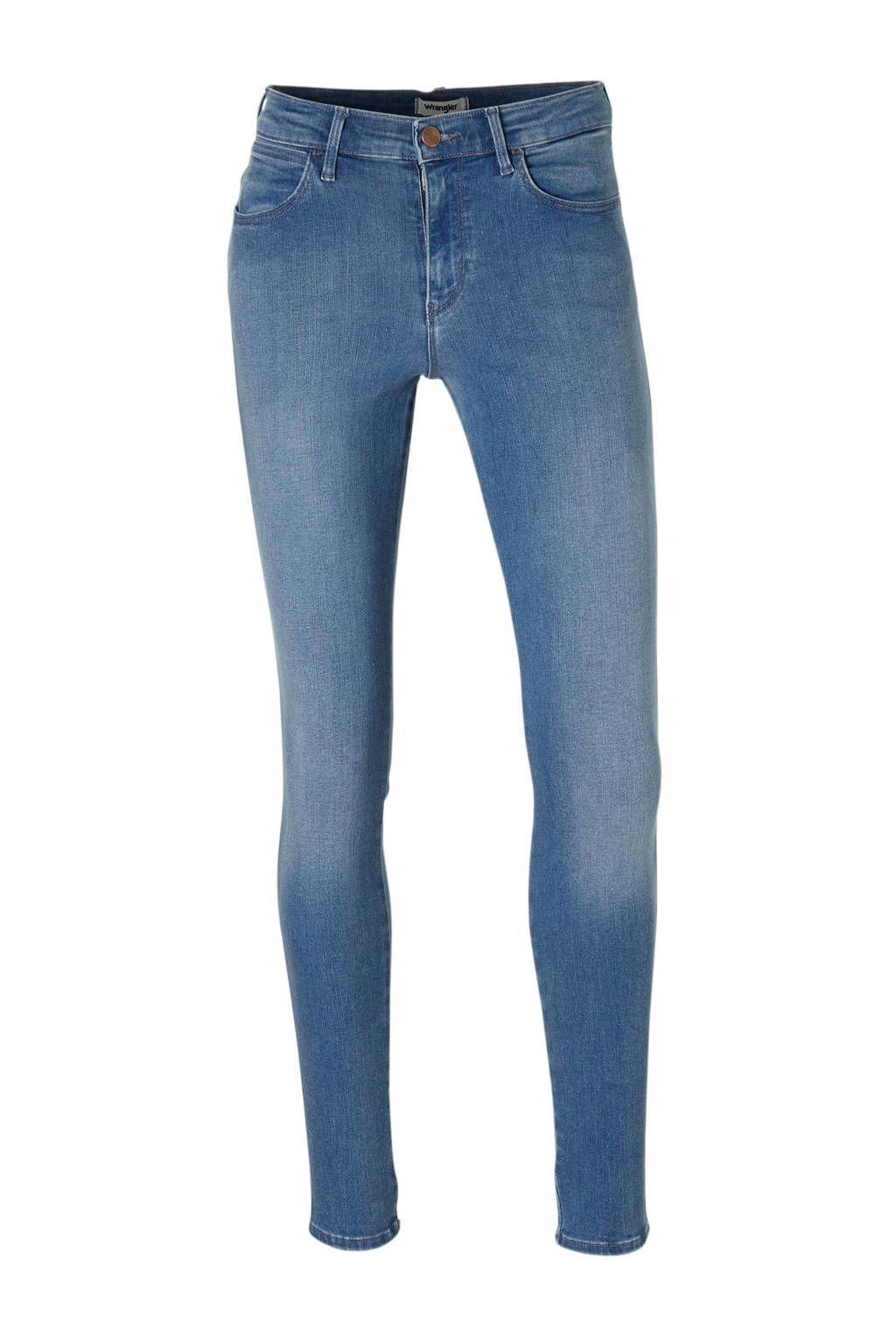 Wrangler high rise skinny jeans, Blauw denim