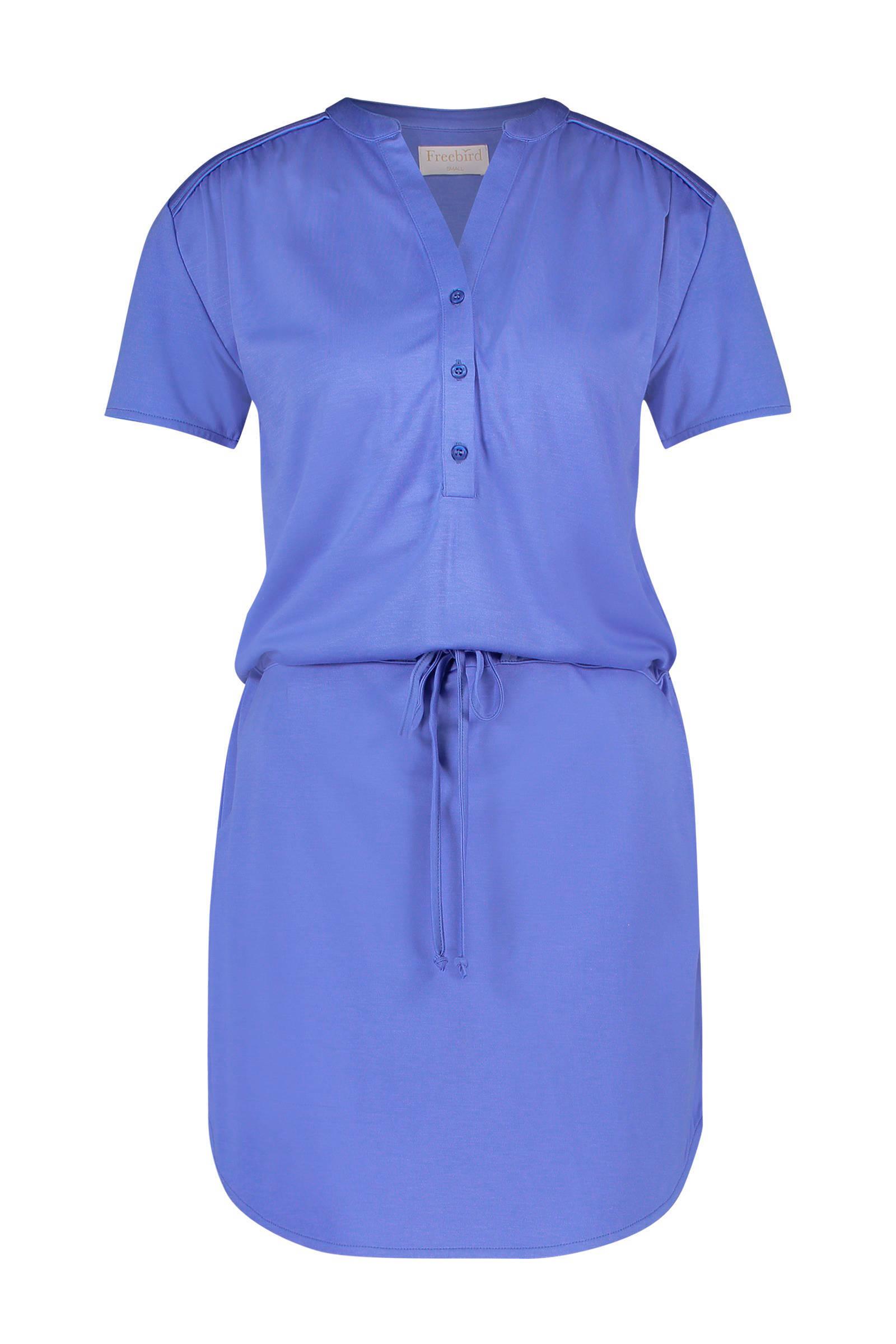 blauw met witte jurk