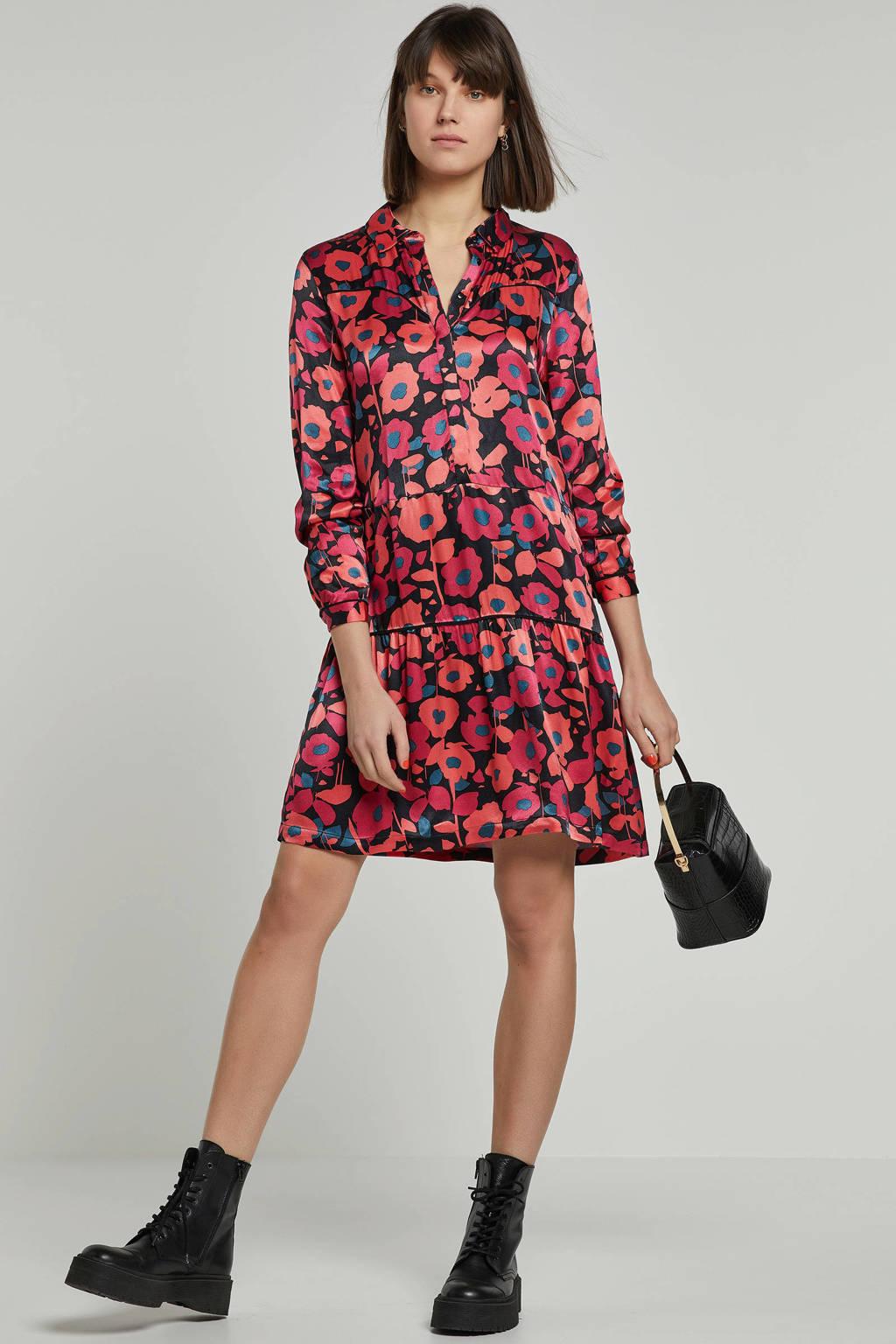 Freebird jurk met bloemen, Rood/zwart