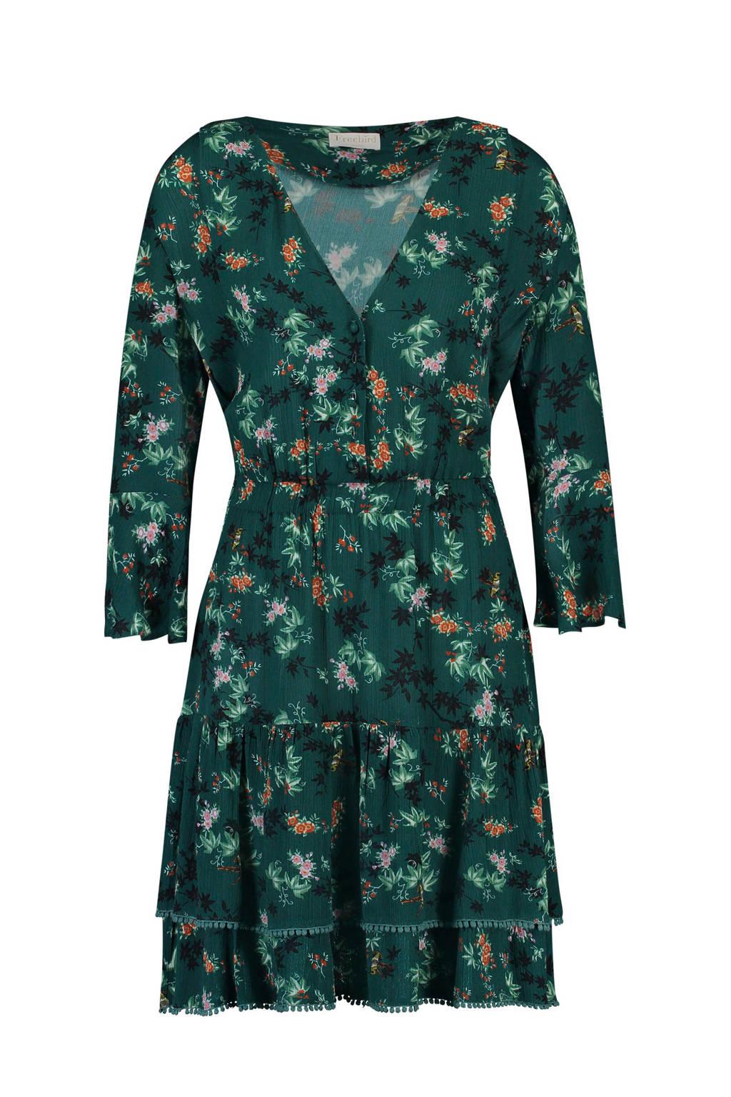Freebird jurk met bloemenprint groen, Donkergroen