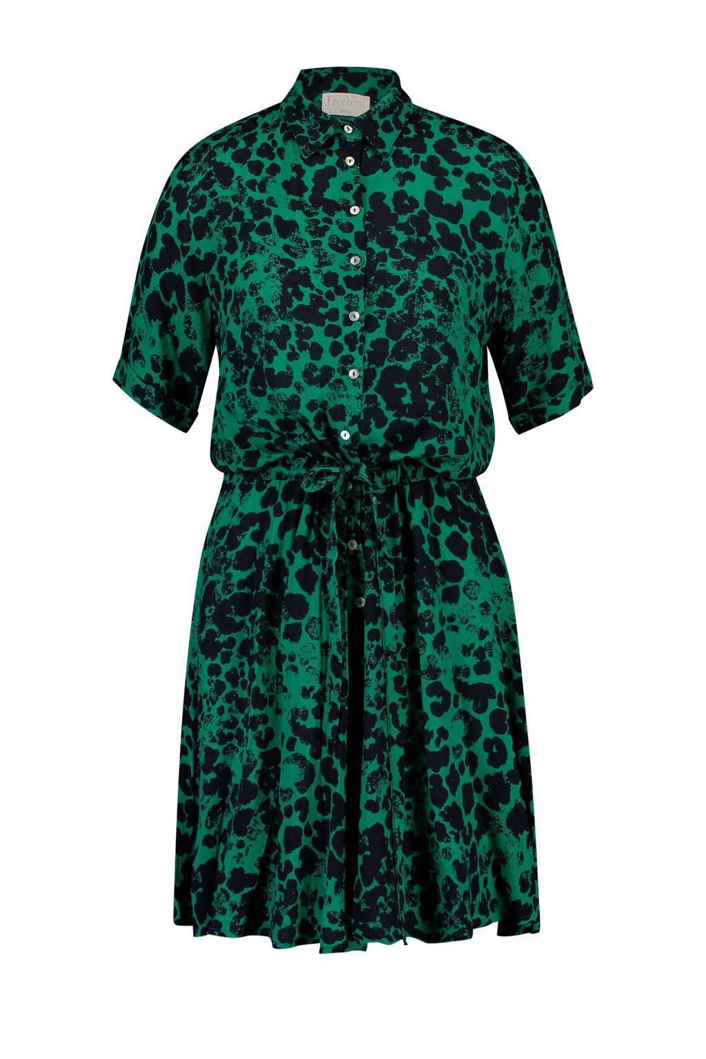 Freebird blousejurk met panterprint groen/zwart, Groen/zwart