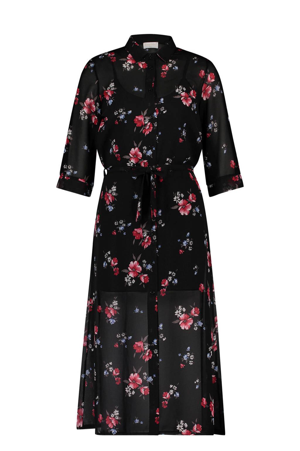 Freebird gebloemde jurk zwart, Zwart