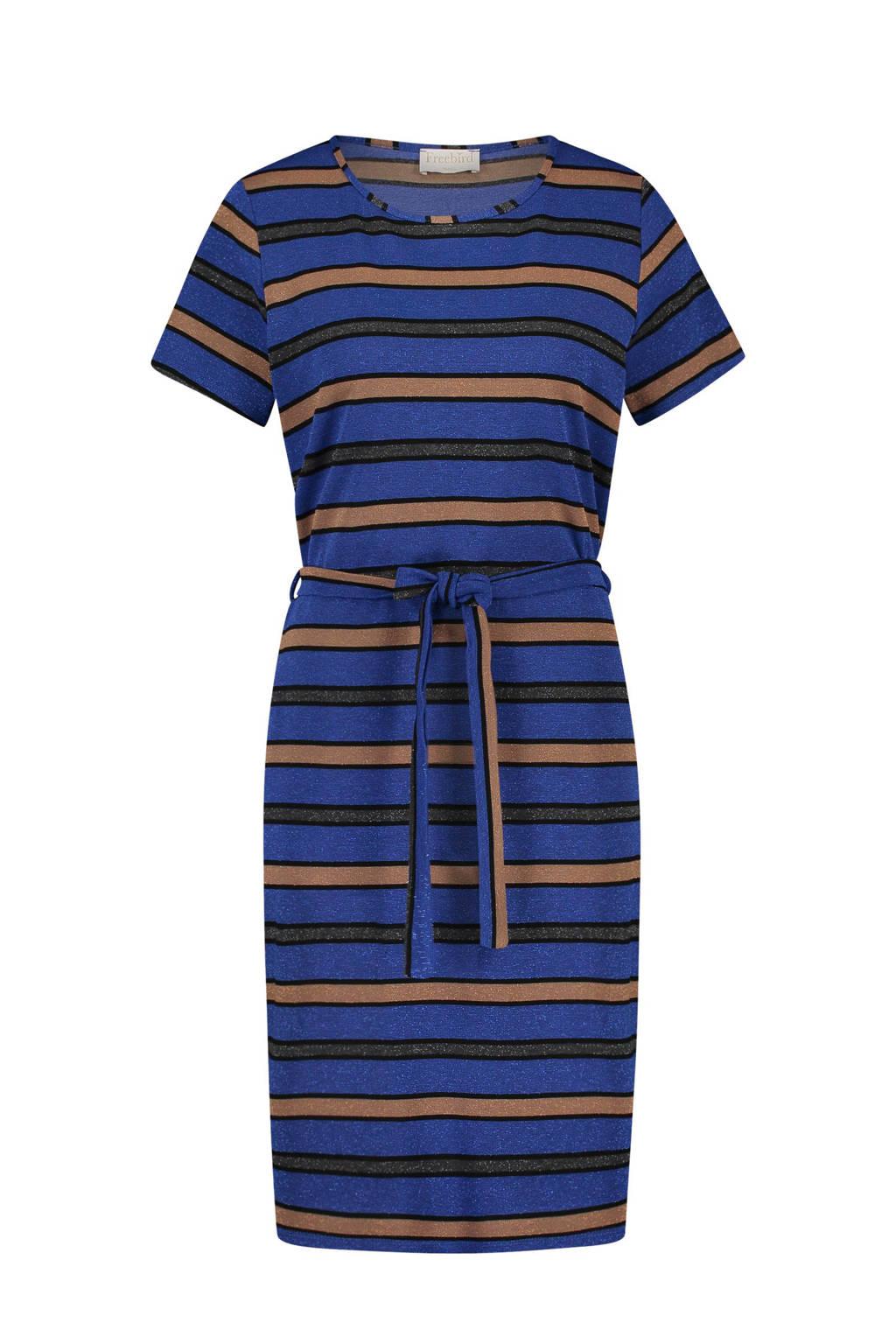 Freebird T-shirt jurk met streep dessin, Blauw/beige/zwart