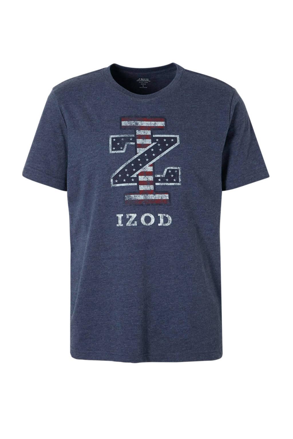 IZOD gemêleerd T-shirt met print donkerblauw, Donkerblauw