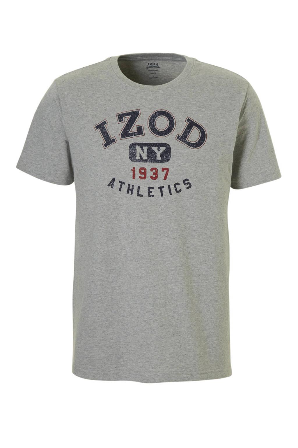 IZOD gemêleerd T-shirt met print grijs, Grijs