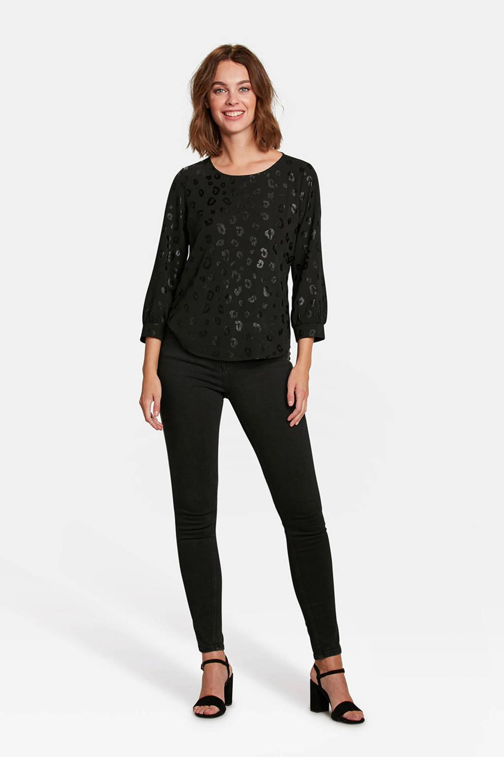 WE Fashion blouse panterprint zwart, Black Dessin