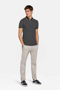 WE Fashion slim fit polo met all over print marine/ geel/ wit, Marine/ Geel/ Wit