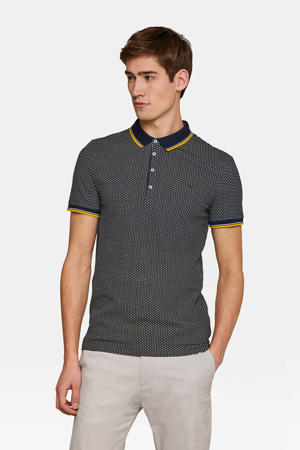 slim fit polo met all over print marine/ geel/ wit