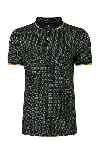 slim fit polo met allover dessin
