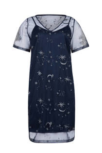 WE Fashion semi-transparante jurk met sterren