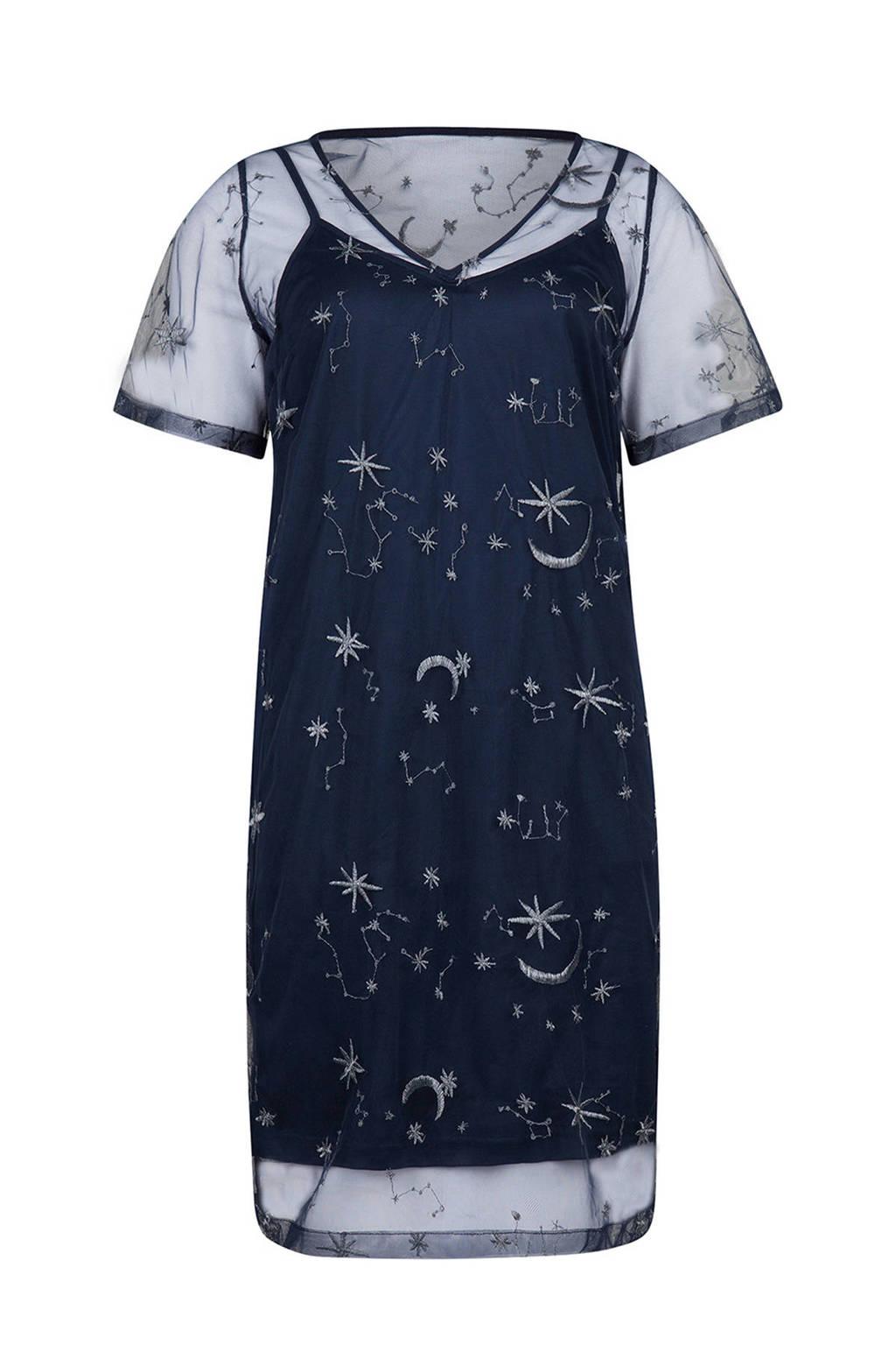 WE Fashion semi-transparante jurk met sterren, Donkerblauw