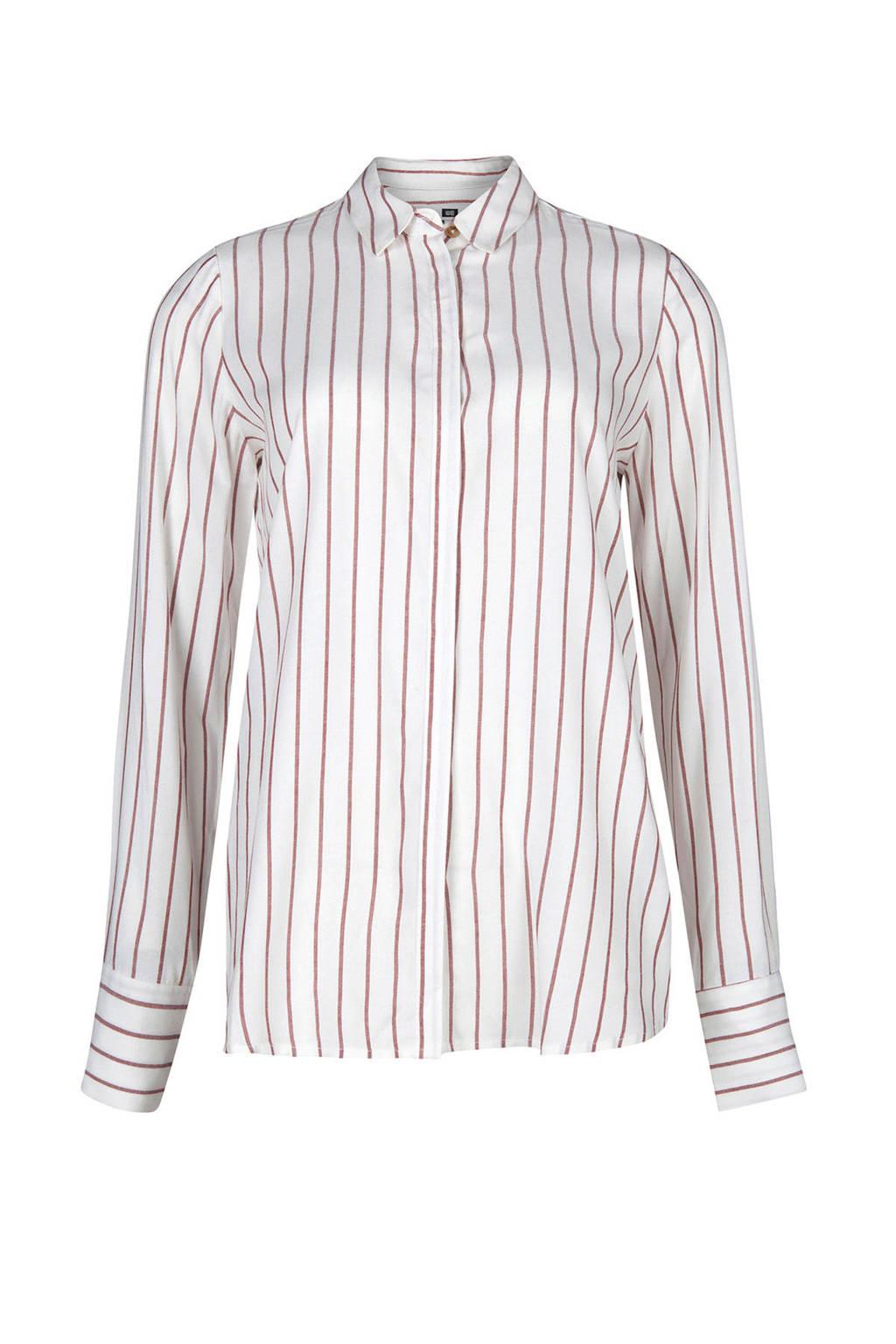 WE Fashion gestreepte blouse wit, Wit