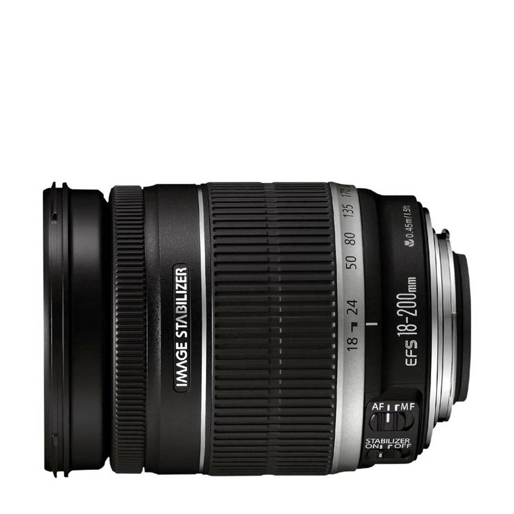 Canon EF-S 18-200mm f/3.5-5.6 IS zoomlens, Zwart