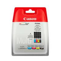 Canon CLI551MULT multipack inktcartridge (zwart+kleur), Zwart, Cyaan, Geel en Magenta