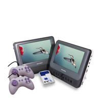 Salora DVP9048TWIN duo portable DVD-speler met  9 inch schermen, Grijs, wit