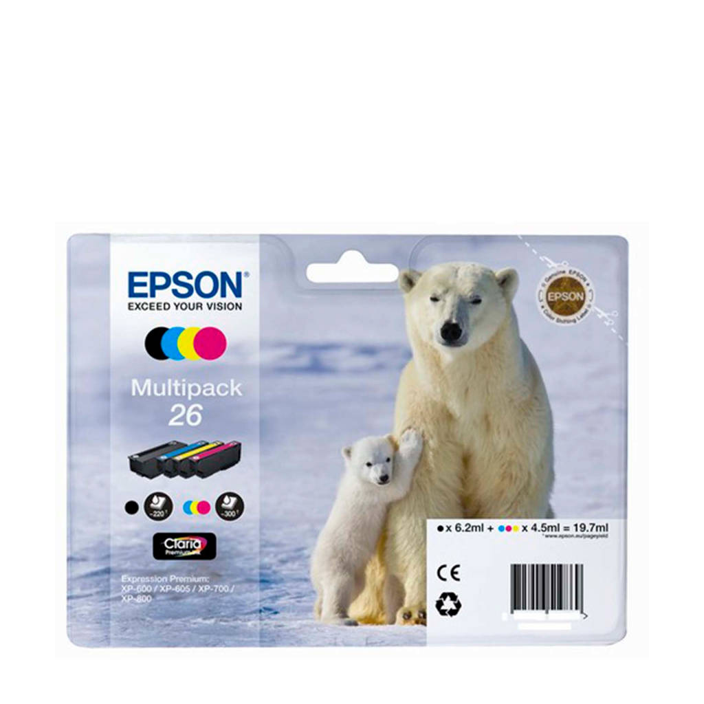Epson T2616PACK multipack inktcartridges (zwart+kleur), Zwart, Geel, Cyaan en Magenta