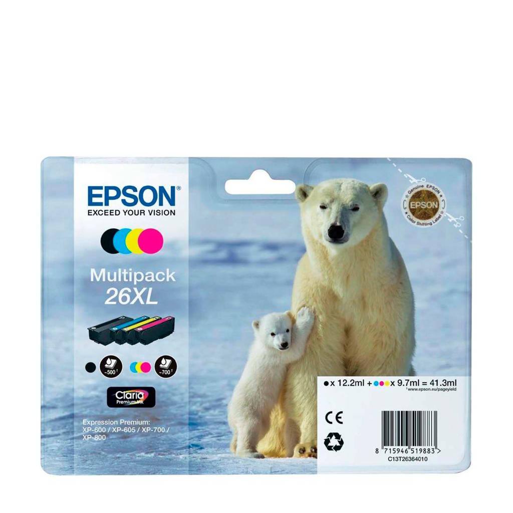 Epson T2636XL multipack inktcartridges (zwart+kleur), Zwart, Geel, Cyaan en Magenta
