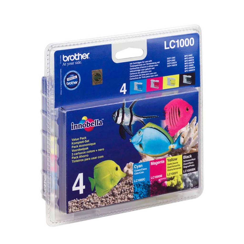 Brother LC1000PACK voordeelpack inktcratridge, Zwart, Cyaan, Magenta en Geel
