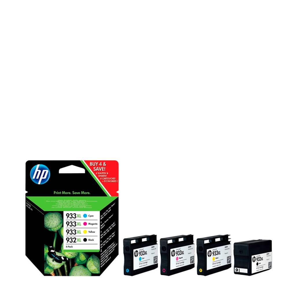 HP 932933XL Multipack inktcartridges (zwart+kleur), Zwart, Geel, Cyaan en Magenta